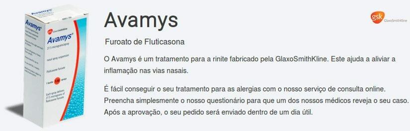 Avamys é um produto de composição do Furoato de Fluticasona como um ingrediente criado pela GlaxoSmithKline